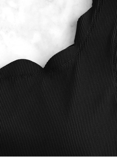 ZAFUL acanalado festoneado de un hombro traje de baño de Tankini - Negro L Mobile