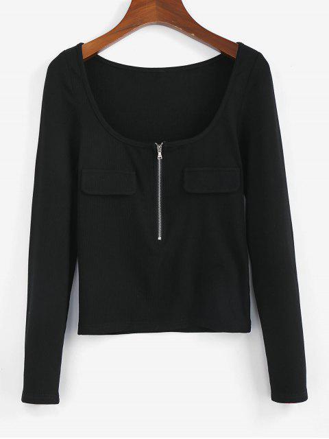 unique ZAFUL Half Zip Scoop Neck Ribbed T-shirt - BLACK M Mobile