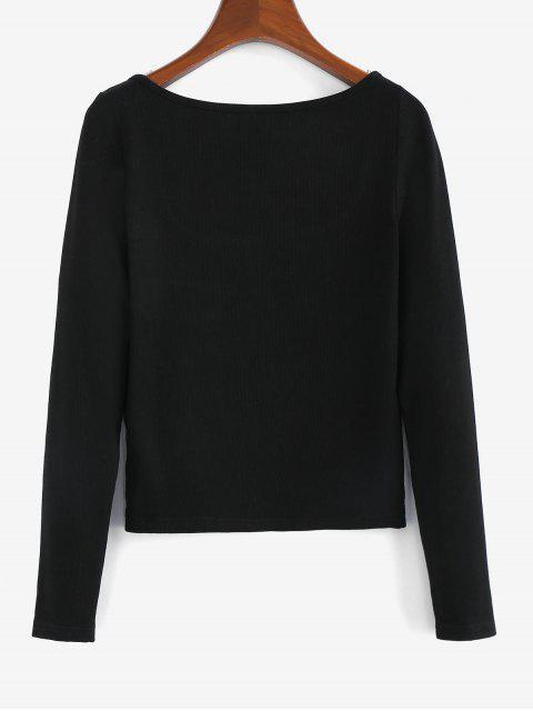 sale ZAFUL Half Zip Scoop Neck Ribbed T-shirt - BLACK L Mobile