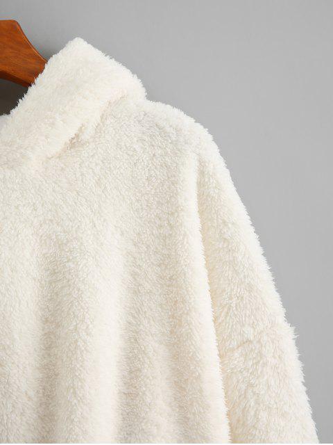 Llanura gota hombro mullido con capucha de peluche - Blanco XL Mobile