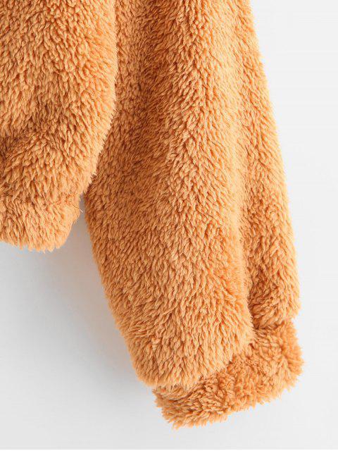 Llanura gota hombro mullido con capucha de peluche - Tigre Anaranjado XL Mobile