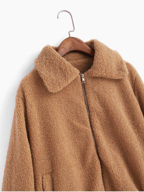 Zip Up Escudo de peluche Fuzzy - Marrón Claro XL Mobile
