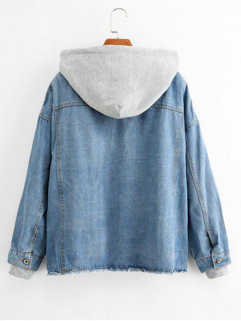 shops Frayed Hooded Zip Drop Shoulder Denim Pocket Jacket - LIGHT SKY BLUE L Mobile