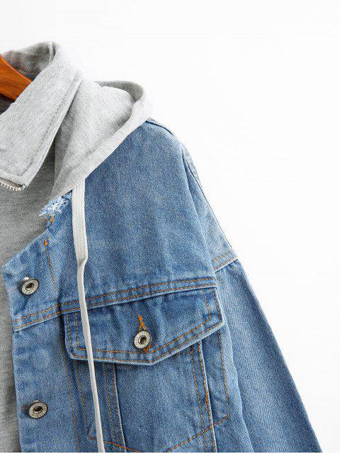 Zerrissene Ausgefranste Denim Jacke mit Kapuze und Reißverschluss - Helles Himmelblau XL Mobile