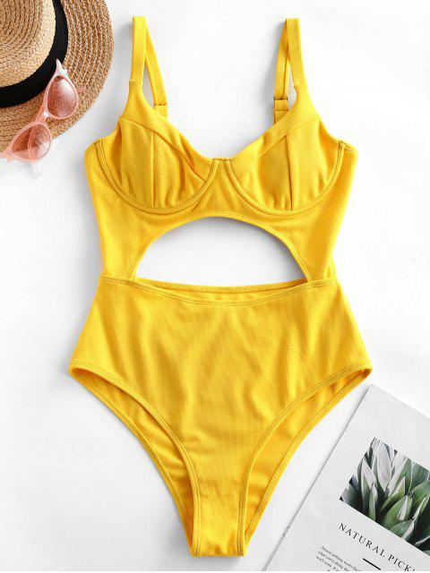 latest ZAFUL Underwire Cutout Knot High Cut One-piece Swimsuit - SUN YELLOW XL Mobile