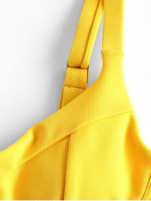 affordable ZAFUL Underwire Cutout Knot High Cut One-piece Swimsuit - SUN YELLOW M Mobile