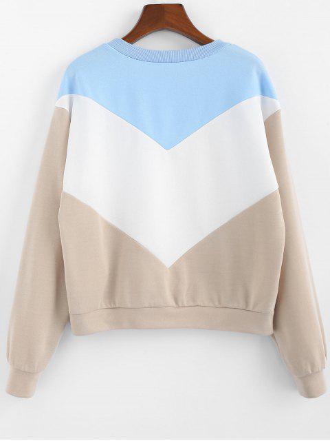 affordable ZAFUL Color-blocking Chevron Long Sleeve Sweatshirt - SAND XL Mobile