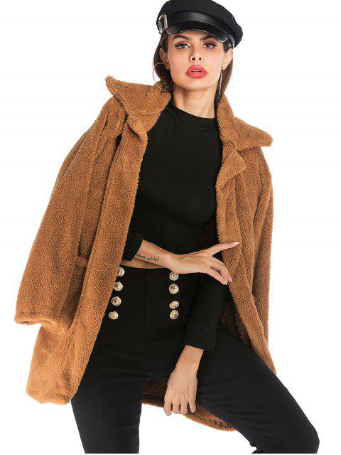 buy Pockets Solid Faux Fur Coat - BROWN S Mobile