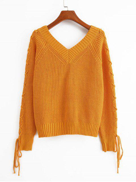 固體套頭衫V領蕾絲最多毛衣 - 金黃色 S Mobile