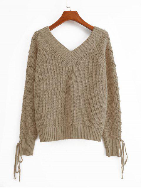 固體套頭衫V領蕾絲最多毛衣 - 輕卡其色 XL Mobile