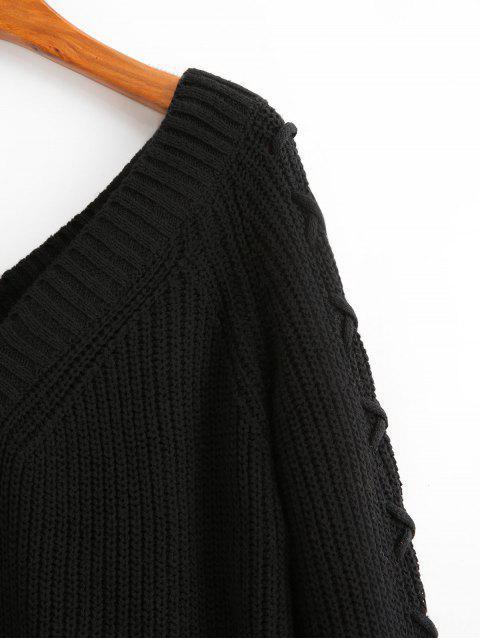 Einfarbiger Pullover  V-Ausschnitt Pullover mit Schnürung - Schwarz M Mobile