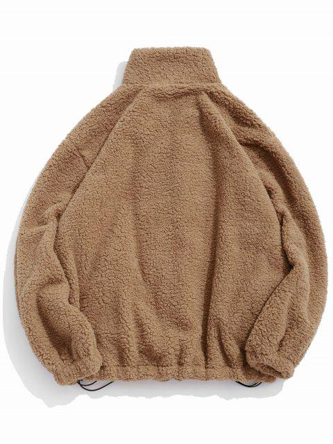 sale ZAFUL Faux Fur Solid Toggle Drawstring Fuzzy Jacket - CAMEL BROWN L Mobile