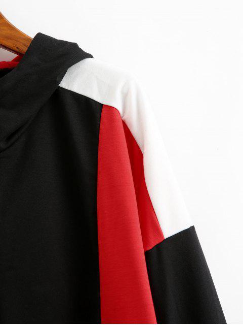 顏色阻斷切換抽繩半拉鍊帽衫 - 黑色 L Mobile