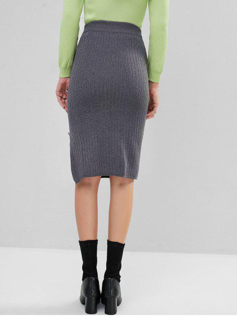 人造珍珠鈕扣縫針織Bodycon鉛筆裙 - 灰色 One Size Mobile