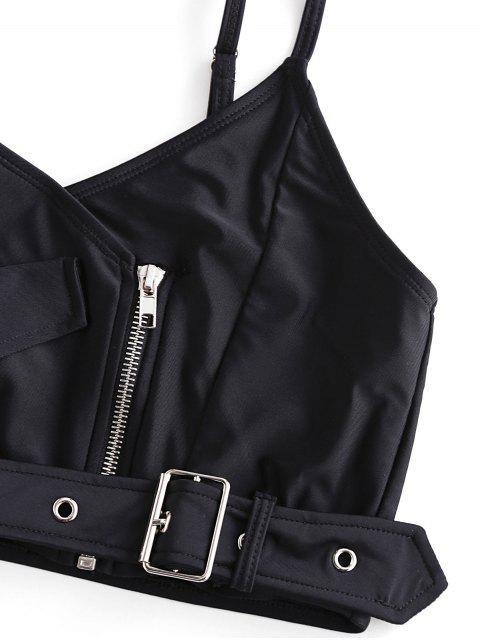 ZAFUL metal Ojal cremallera High Cut Bralette Tankini del traje de baño - Negro L Mobile