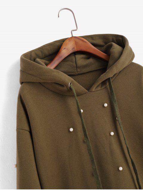 捲邊羊毛襯裡人造珍珠原料切連帽衫 - 軍綠色 L Mobile