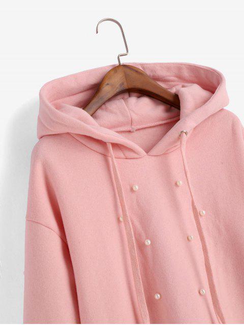Perlenstickerei mit Fleece-Futter-Perlen-Raw Cut Hoodie - Rosa XL Mobile