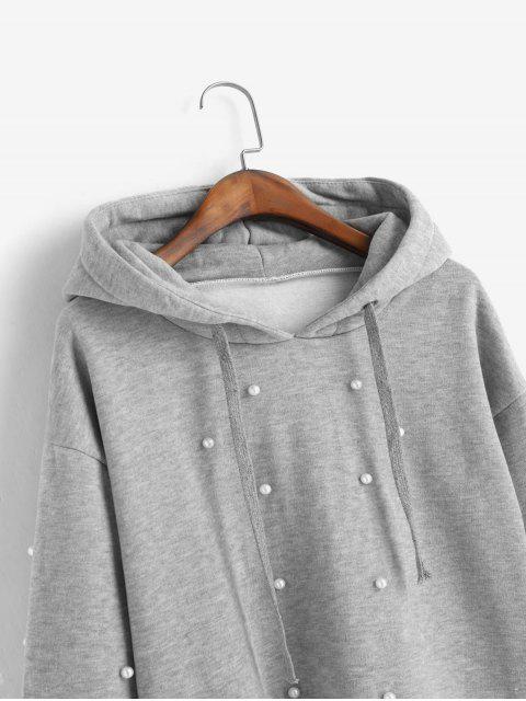 捲邊羊毛襯裡人造珍珠原料切連帽衫 - 灰色 XL Mobile