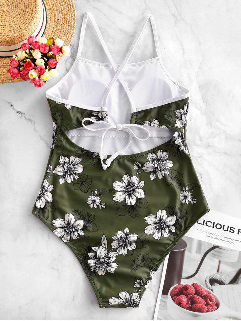 shops ZAFUL Floral Crisscross One-piece Swimsuit - CAMOUFLAGE GREEN M Mobile