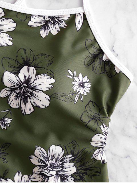 ZAFUL Цветочный принт Перекрестные шнурки Слитный Купальник - Камуфляж-зеленый M Mobile
