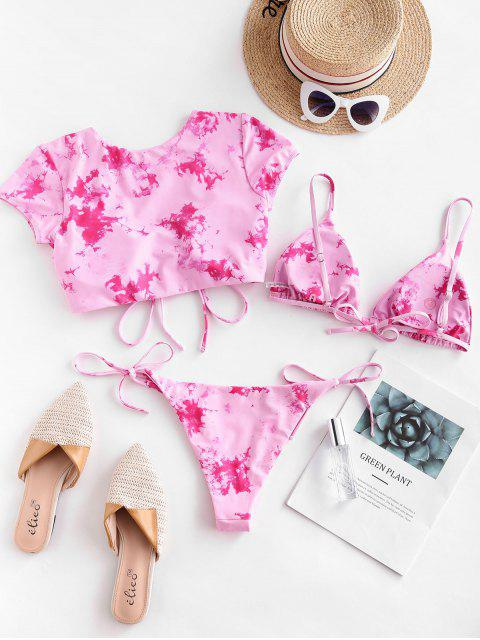 shop ZAFUL Tie Dye Cinched Three Piece Swimsuit - VIOLET RED L Mobile