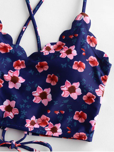 ZAFUL Blumenkreuz Tankini Badebekleidung - Rose L Mobile