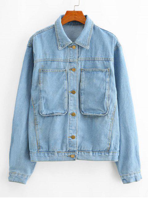 online Pocket Single Breasted Denim Boyfriend Jacket - BLUE S Mobile