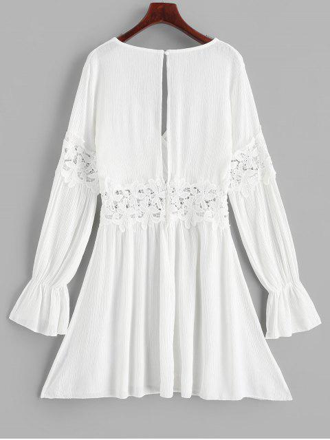 ladies Open Back Lace Panel Long Sleeve Surplice Dress - WHITE S Mobile