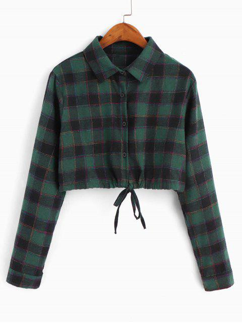 ladies Checked Drawstring Hem Cropped Shirt - SEA TURTLE GREEN M Mobile