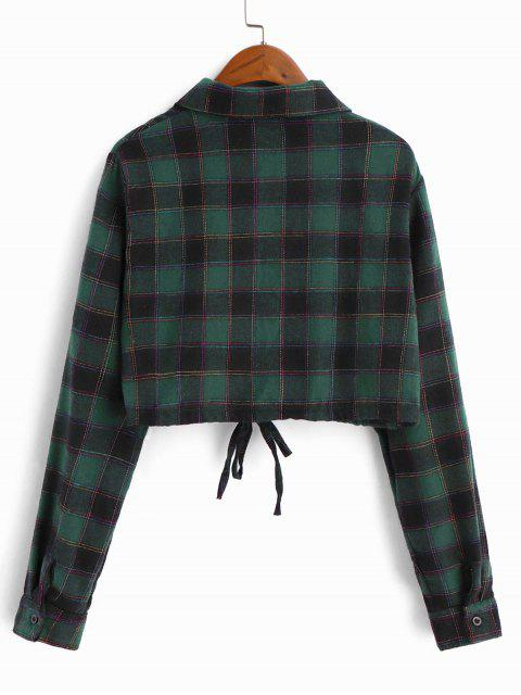 new Checked Drawstring Hem Cropped Shirt - SEA TURTLE GREEN S Mobile