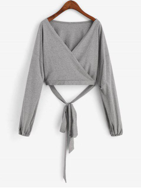 women Plain Balloon Sleeve Wrapped Cropped T Shirt - GRAY GOOSE M Mobile