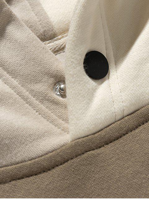顏色阻斷補丁前口袋抓絨帽衫 - 灰色 XL Mobile