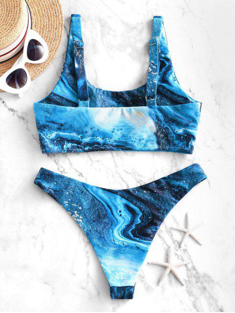 ZAFUL Maillot de Bain Bikini Découpé Océan Imprimé à Jambe Haute - Bleu Lapis M Mobile