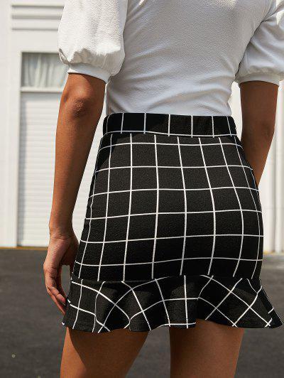 ZAFUL Plaid Ruffle Hem Sheath Skirt, Black