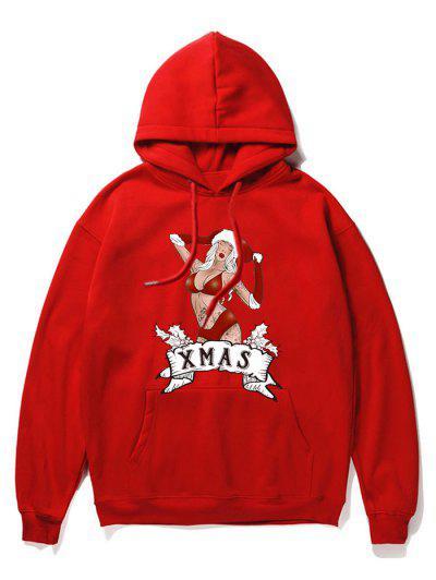 Christmas Cartoon Printed Pocket Hoodie - Red 2xl