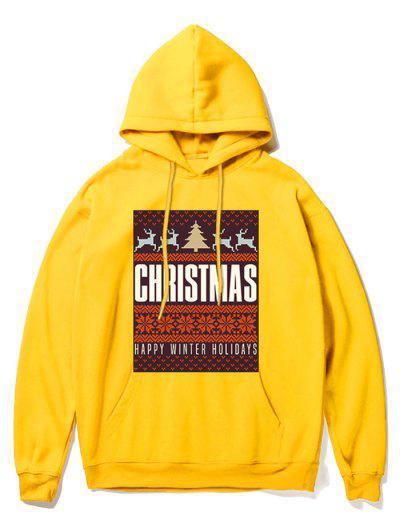Snowflake Letter Printed Christmas Hoodie - Yellow M