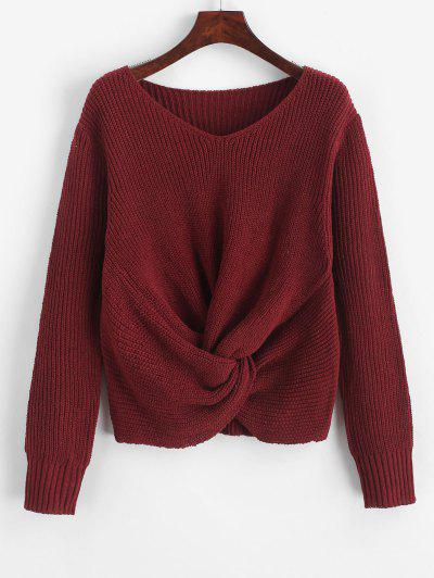 Pullover Twist Hem V Neck Sweater - Red Wine M