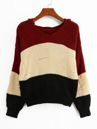 Color-blocking Hooded Pointelle Drop Shoulder Sweater - Multi-a