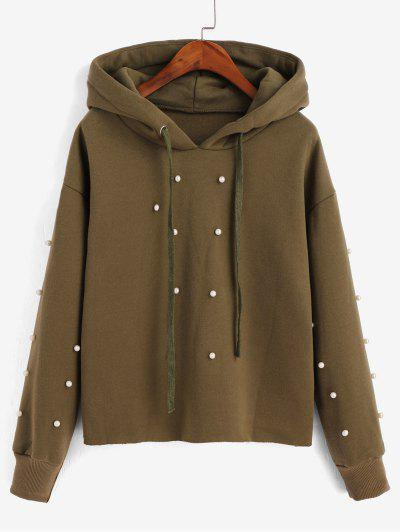 Beading Fleece Lined Faux Pearl Raw Cut Hoodie - Army Green L