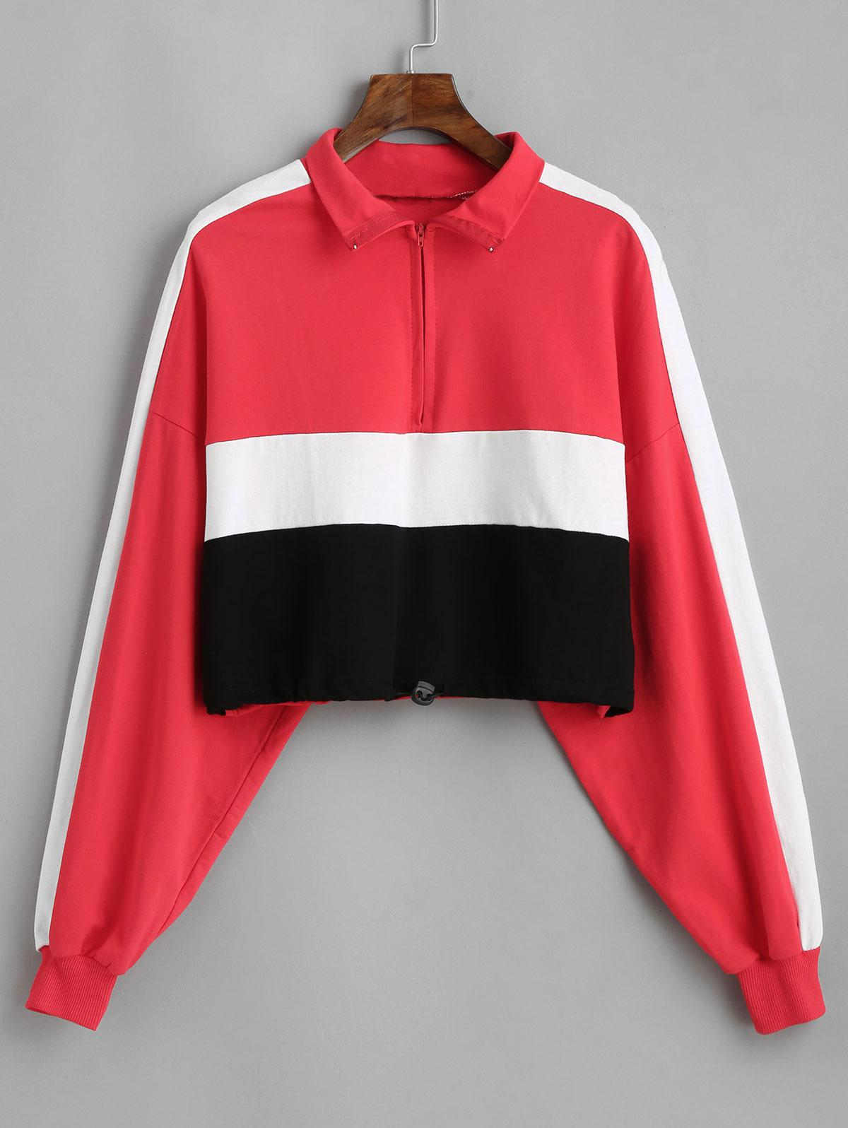 Colorblock Toggle Drawstring Hem Cropped Sweatshirt