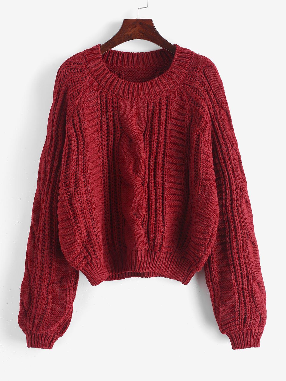 Cable Knit Solid Color Chunky Sweater