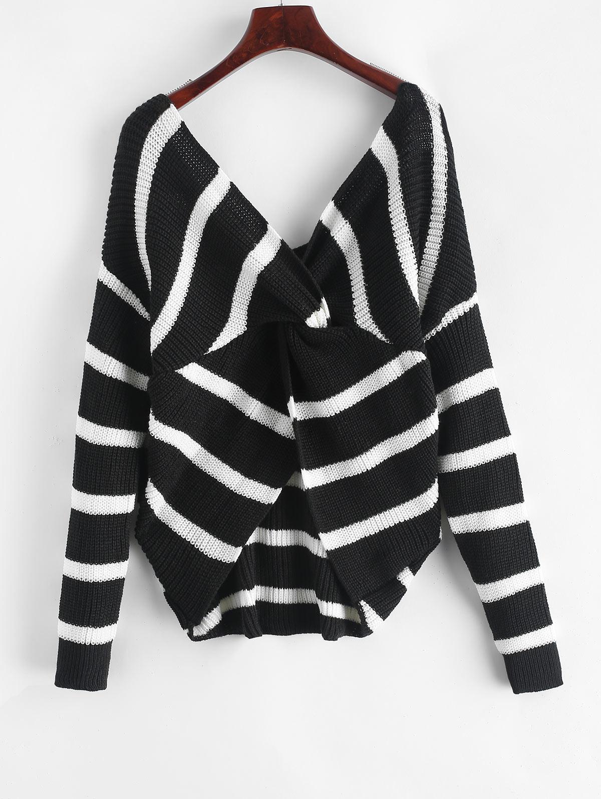 Twist Back Striped V Neck Sweater