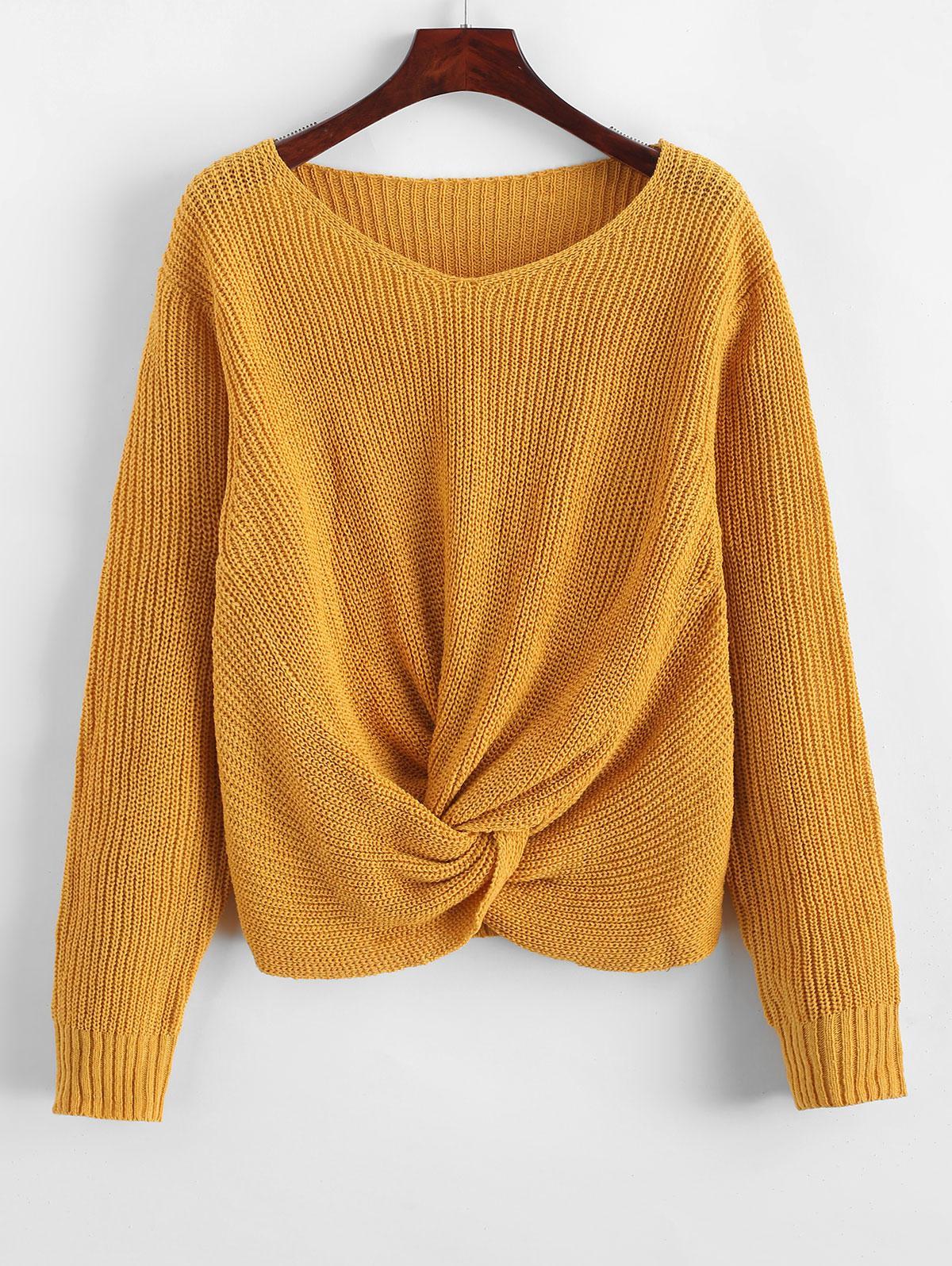 Pullover Twist Hem V Neck Sweater, Golden brown