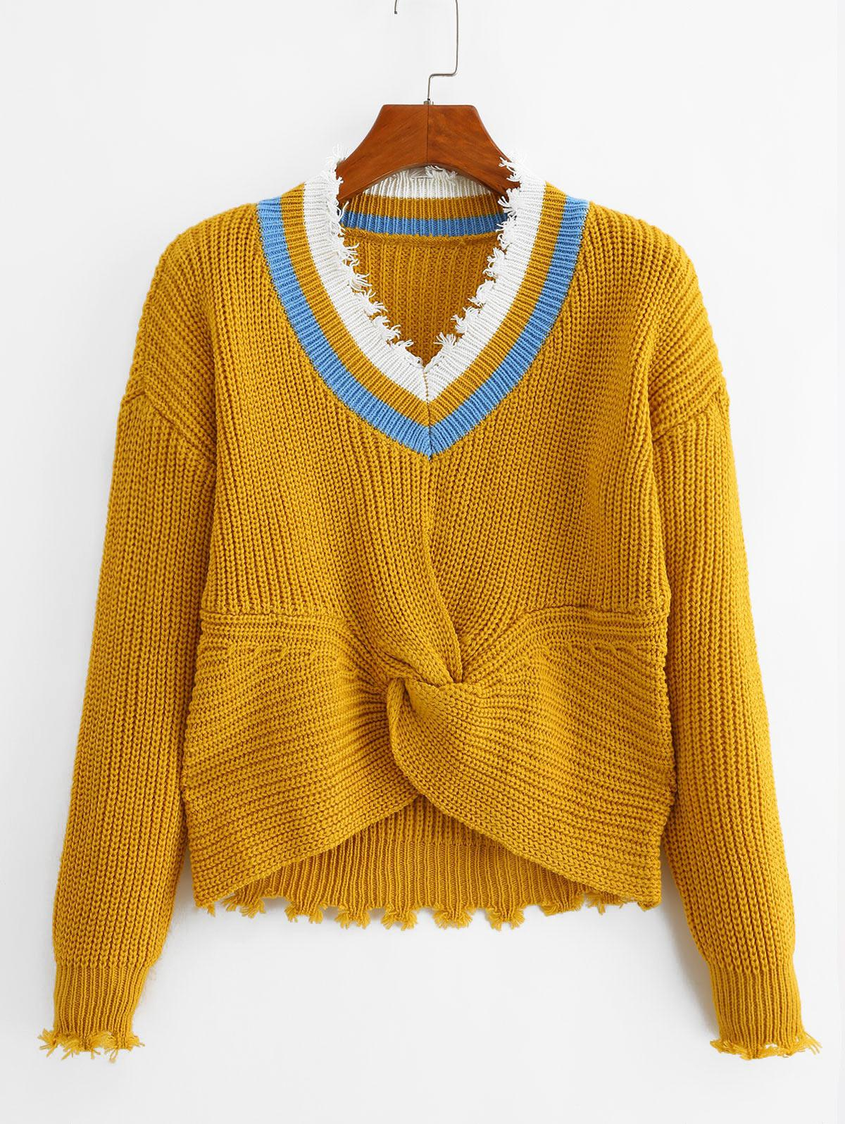 Twisted Ripped Trim Drop Shoulder Sweater