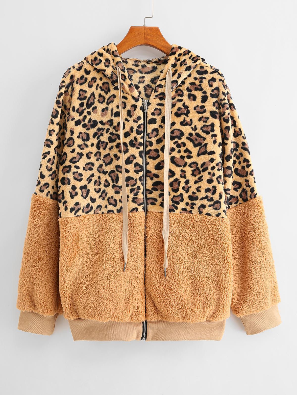 Seam Pockets Leopard Zip Up Teddy Jacket фото