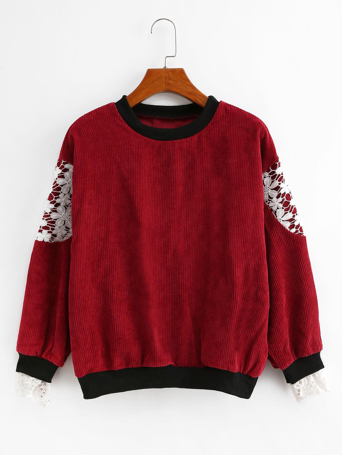 Corduroy Ruffle Cuff Crochet Panel Sweatshirt