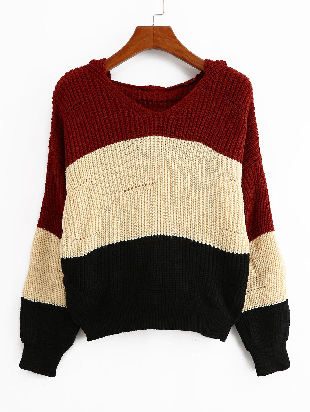 Color-blocking Hooded Pointelle Drop Shoulder Sweater