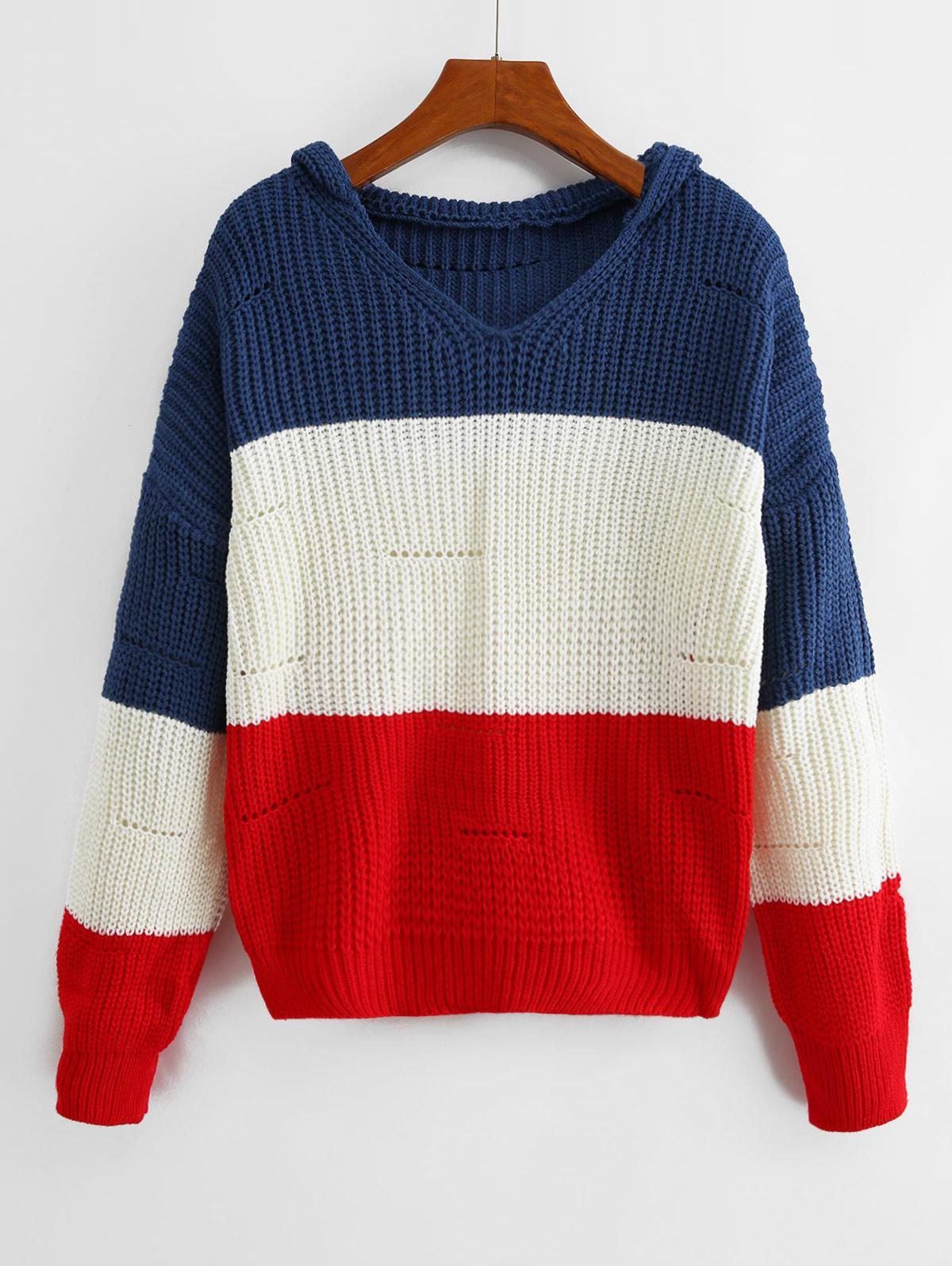 Color-blocking Hooded Pointelle Drop Shoulder Sweater