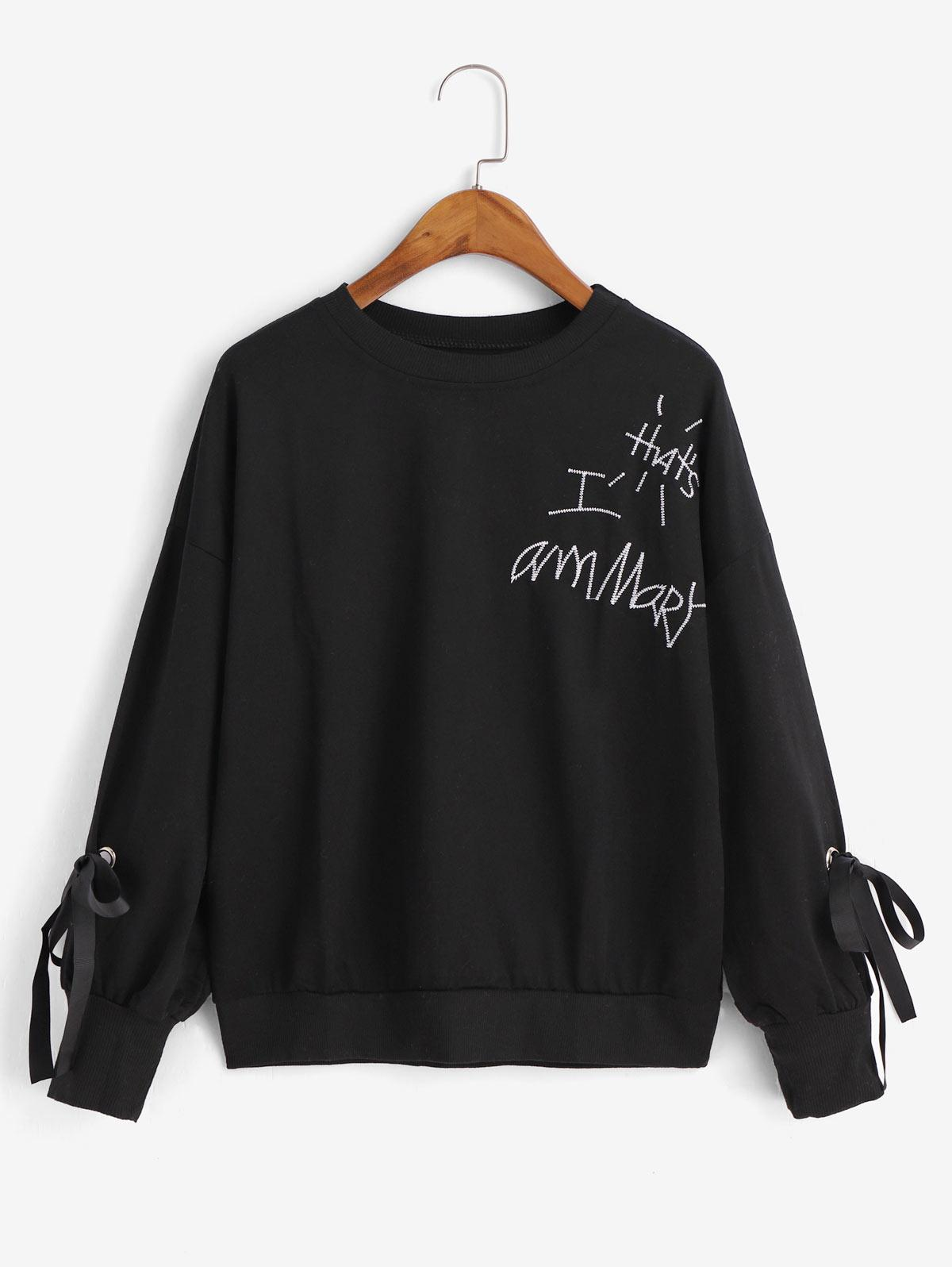Embroidered Tied Drop Shoulder Sweatshirt