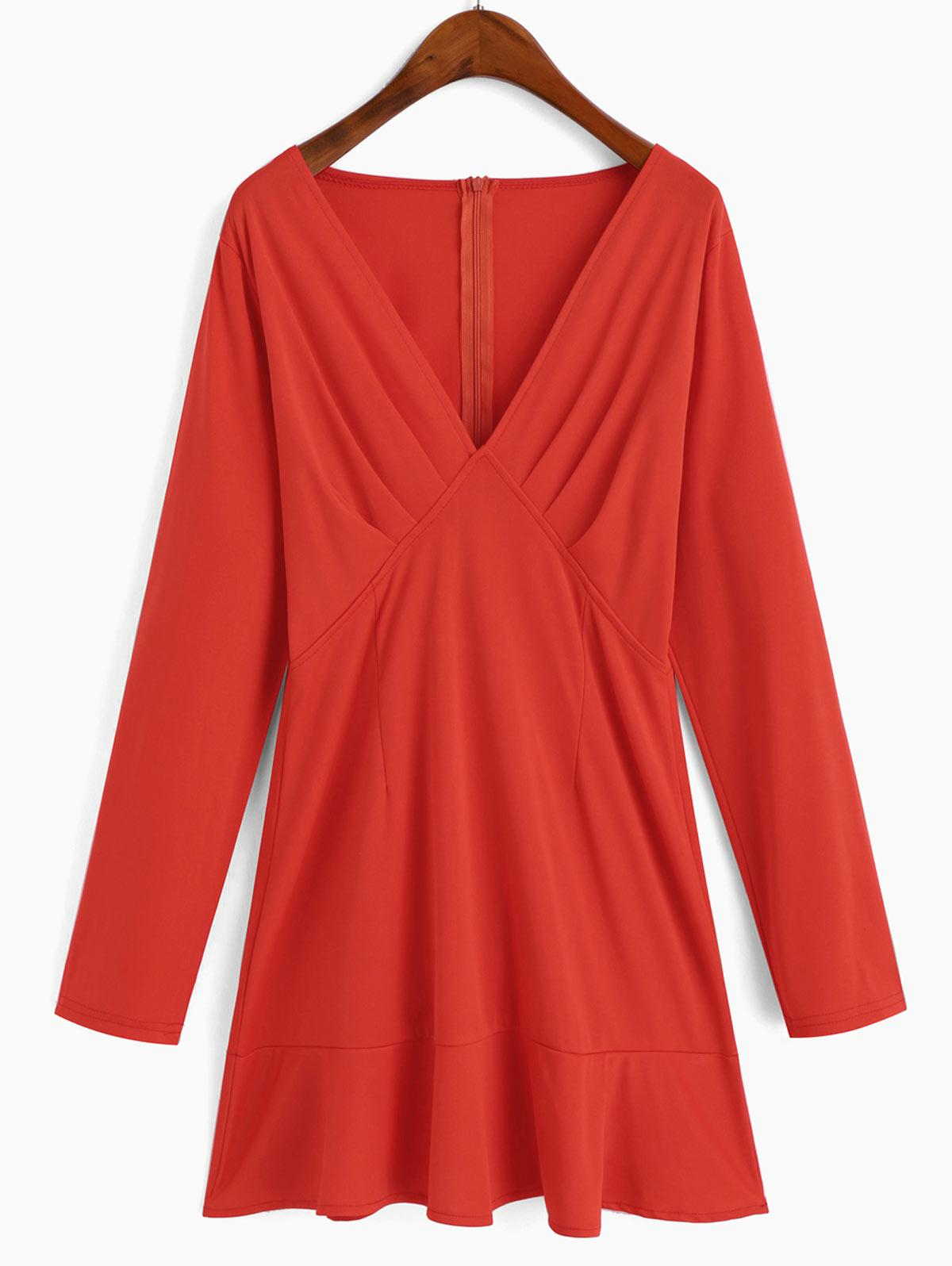 Plunging Neck Long Sleeve Mini Ruffled Hem Dress